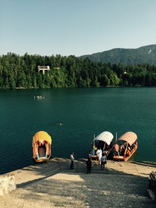 Pletna boats Bled island, Slovenia