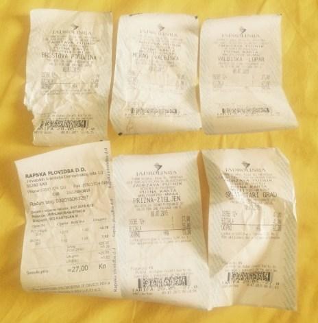 The many ferry tickets of Croatia