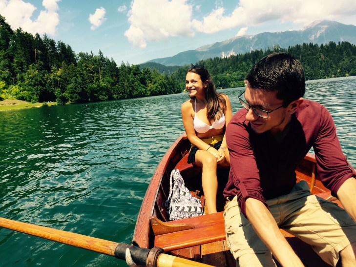 Anne and Enrique rowing on lake Bled, Slovenia