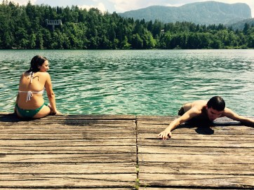 Anne and Enrique swimming on lake Bled, Slovenia