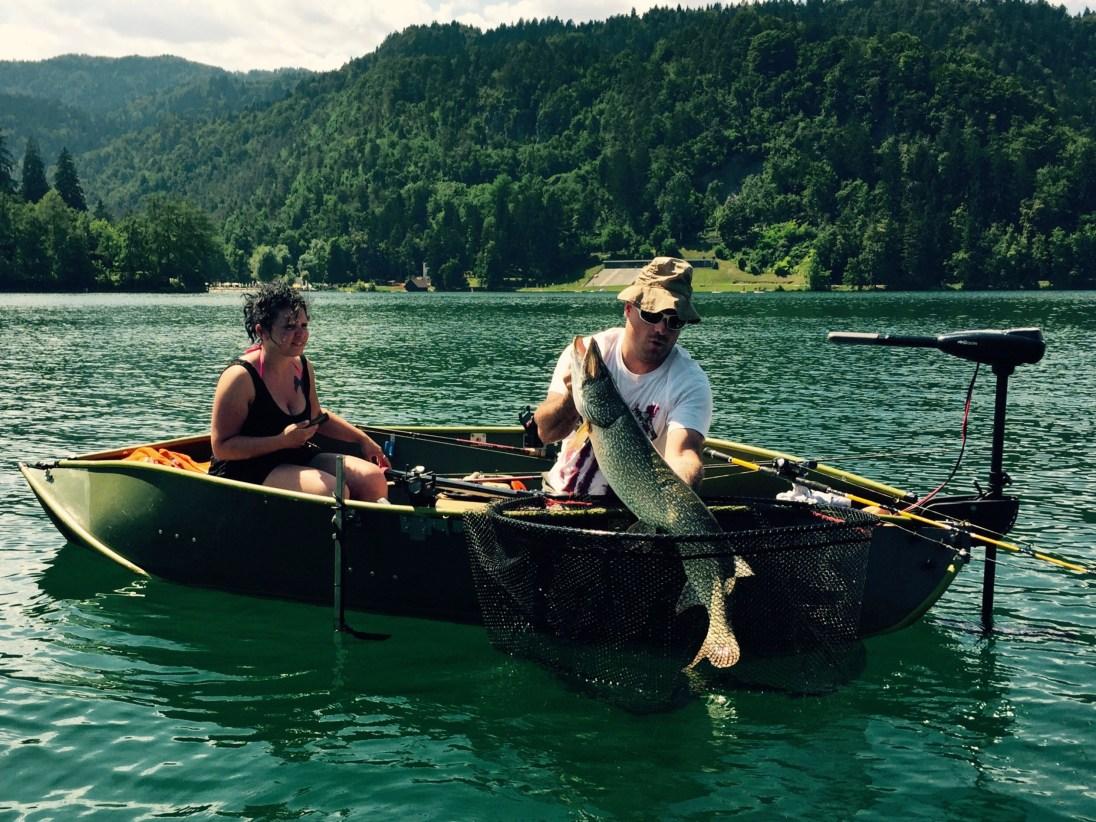 Fisherman and massive pike, lake Bled, Slovenia