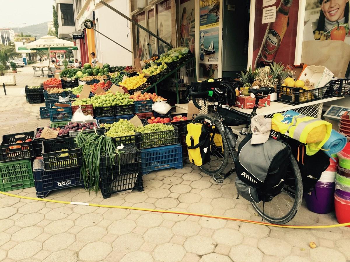 Bicycle outside fruit shop, Albania