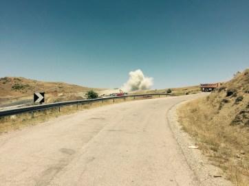 Blasting the new road, Albania