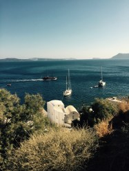 Boat Rhumb Runner at anchor, Santorini, Thira, Greece