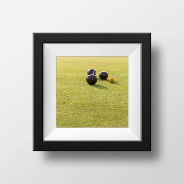 Paul Ligas Photography print Lawn Bowling Balls on the Green mock up