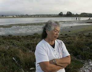 Leona Wilkinson on Tuluwat, formerly known as Indian Island. Photo by Michael Maloney, S.F. Chronicle.