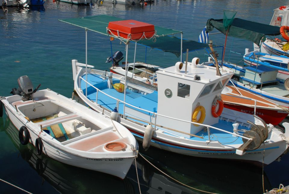 The small fishing harbour at Agios Nikolaos. Picturesque in summer, it provides little shelter in bad weather