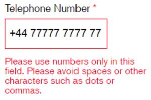 Tel number error message