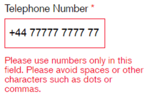 Tel number error message