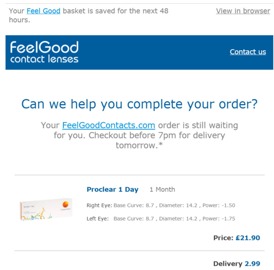 Compliant abandoned checkout email