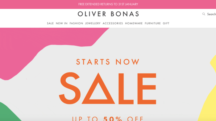 Oliver Bonas eCommerce Website