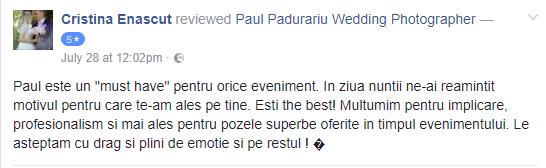 recenzie Paul Padurariu fotograf nunta Iasi - Cristina Enascut