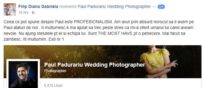 recenzie Paul Padurariu fotograf nunta Iasi - Filip Diana Gabriela