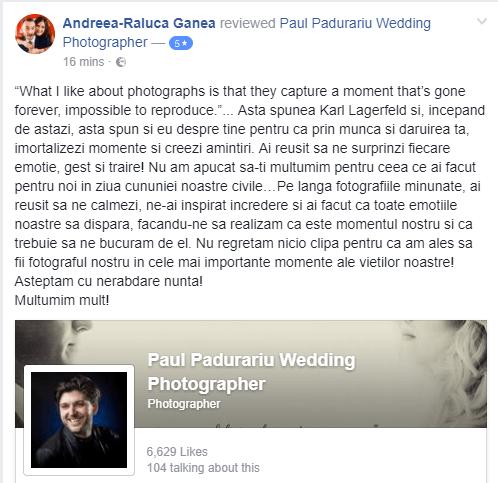 recenzie Paul Padurariu fotograf nunta Iasi - Andreea Raluca Ganea