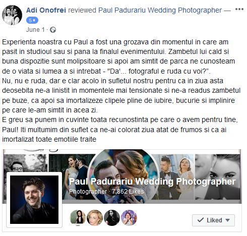 Testimonial despre fotograf de nunta Iasi Paul Padurariu www.paulpadurariu.ro nunta la elysium adi si ioana
