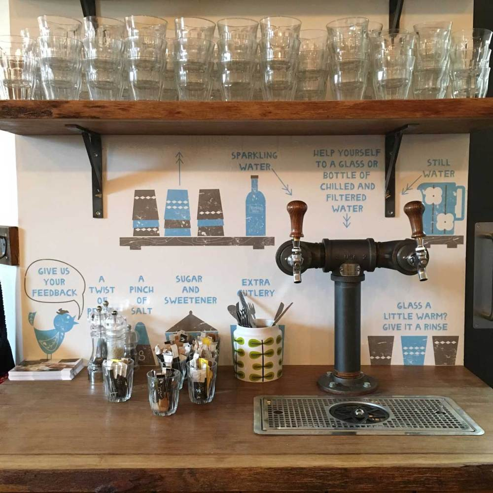 tap water in restaurants is under the microscope, this is the water station in Baltzersen's.