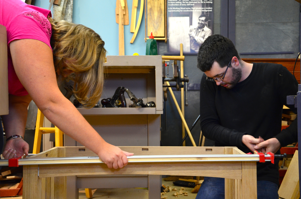 And then there are husbands (Joseph my son) and wives (Katrina my daughter-in-law) making  a coffee table for their friend's wedding gift.