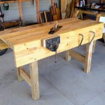 Finn- I used recycled building timber for the top, old signposts for the legs, 3/4in ply for the well and the rear apron I laminated up with some recycled rimu as the top piece. I decided to use a couple of holdfasts to the right of the vise on the apron and top. The vise is a record 52.5, taken apart and restored. Took the equivalent of 15 days full time.