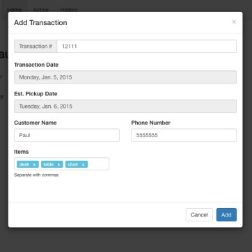 The modal used to add a transaction.