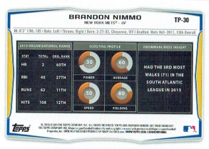 The back of Brandon Nimmo's 2014 Bowman Draft baseball card