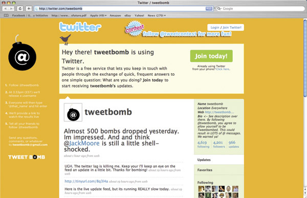Tweet Bomb Screen