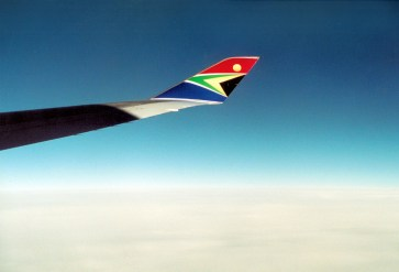 The emblazoned winglet of one of SAA's Boeing 747s