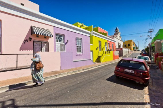 The colourfully painted houses of Chiappini Street in the Bo Kaap area of Cape Town, South Africa.