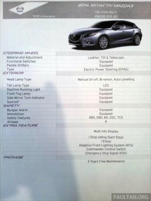 2014 Mazda 3 2 0 Sedan launched in Malaysia - CBU, RM139k