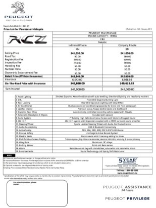 rcz-manual-price-sheet