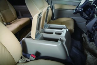 Middle console box with 3 cup holders