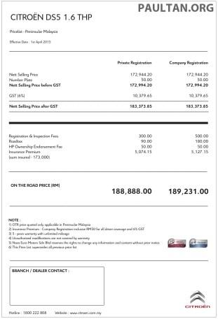 Citroen DS5 price CKD - 1 April 2015 copy
