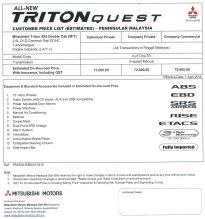 triton quest pricelist