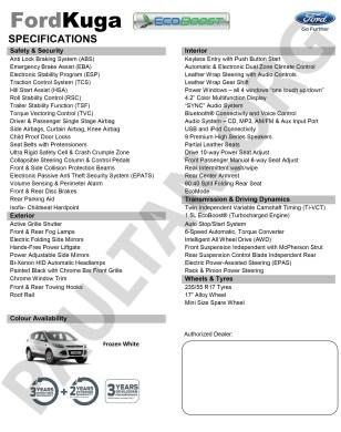 Ford Kuga 1.5L Price List 2