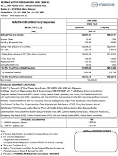 CX-3 SKYACTIV Price List-West Malaysia