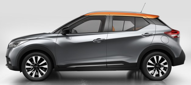 "Nissan Kicks combines emotion and practicality by blending familiar Nissan design signatures with striking modern themes that presage future models. Among those established design signatures are Nissan's V-motion grille, boomerang head- and taillights and the floating roof with a ""wrap-around visor"" look to the windscreen and side glass."