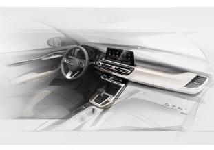Kia small SUV interior sketch teaser 1