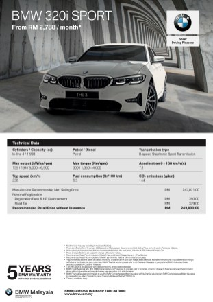 BMW 320i Sport Spec Sheet
