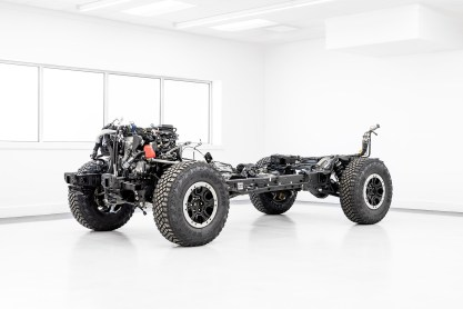 2021 Bronco chassis and powertrain with 2.7-liter EcoBoost V6 engine, 10-speed automatic transmission and Sasquatch Package suspension and tires.