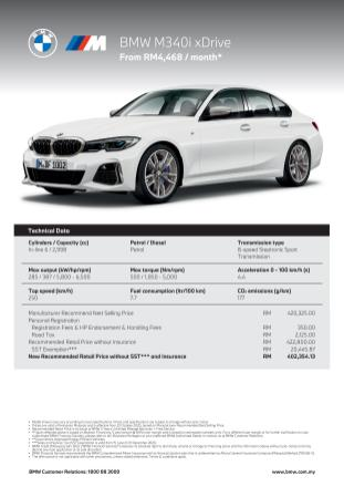 BMW M340i xDrive Spec Sheet 01