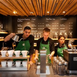 Employees in Starbucks Amsterdam store