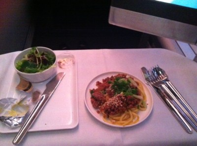 Qantas-business-class-dinner