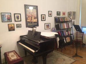 Photo of Paul's downtown studio with Baldwin baby grand piano