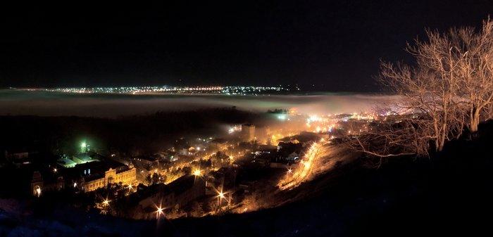 Ночной Пятигорск, вид с Эоловой арфы