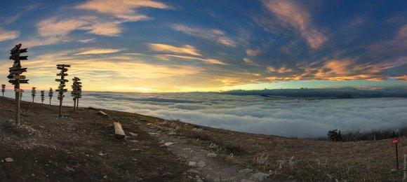 Панорама с вершина Машука над облаками