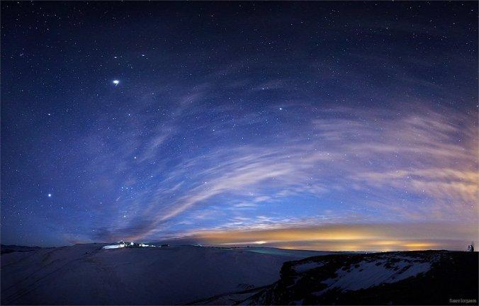 Предрассветные облака на плато