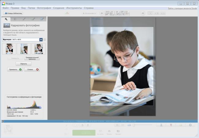 Автоматическое кадрирование в Google Picasa