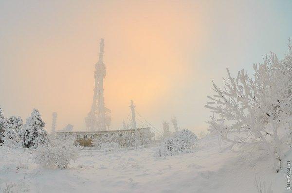 Пятигорская телестанция зимой