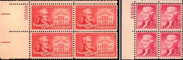 Hamilton and Jefferson on U.S. postage stamps