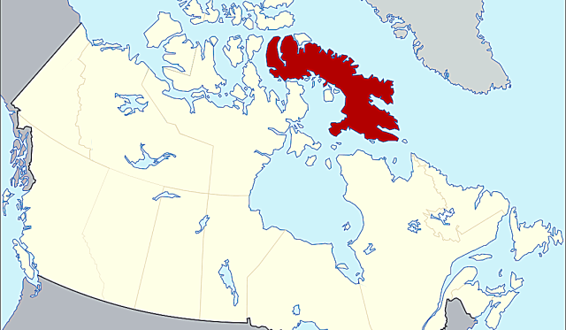 Baffin Island, in red (Wikipeida)