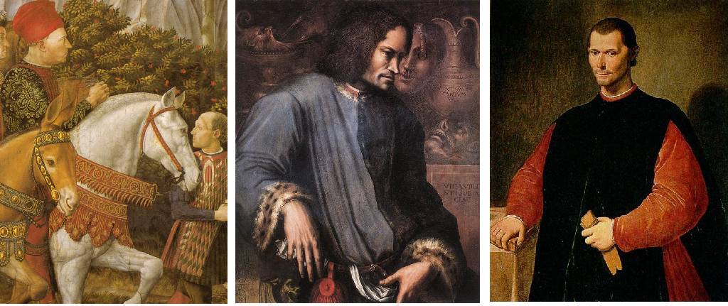 """(left to Right) Piero de' Medici, Lorenzo's Father (1416-1469); Lorenzo de' Medici, """"The Magnificent"""" (1449-1492); Nicolo Machiavelli (1469-1527), A"""